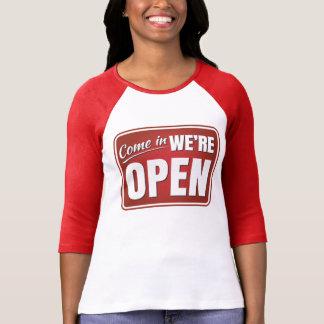 Come in, We're Open - 3/4 Sleeve Raglan T-shirt