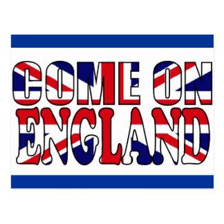 Come on England UK flag Union Jack postcard