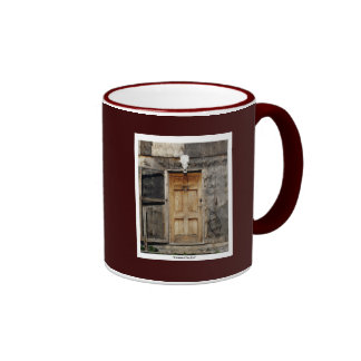 """Come On In"" Rustic Doorway gifts Ringer Coffee Mug"