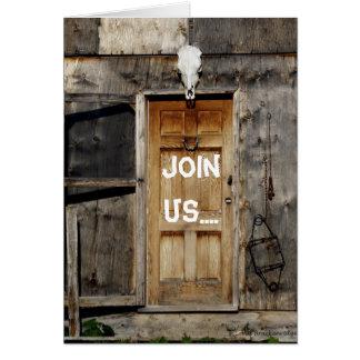 """Come On In"" Rustic Doorway Greeting Card"