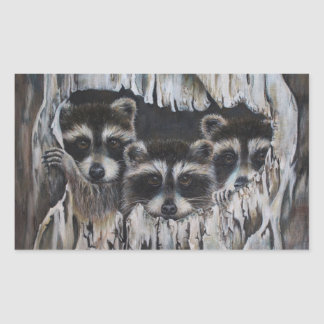 """""""Come on in"""" three raccoons in a tree Rectangular Sticker"""