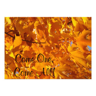 Come One Come All Invitations Autumn Leaves Golden