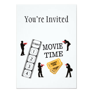 Come One Come All It's Movie Time 5x7 Paper Invitation Card