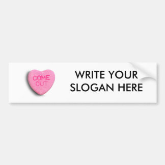 Come Out Candy Heart Car Bumper Sticker
