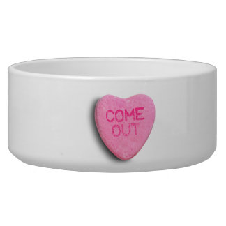 Come Out Candy Heart Dog Food Bowl