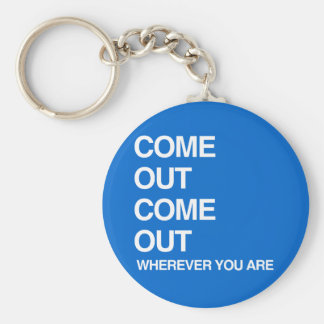 COME OUT COME OUT WHEREVER YOU ARE BASIC ROUND BUTTON KEYCHAIN