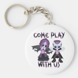 Come Play Basic Round Button Keychain