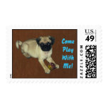 Come Play With Me! Pug Puppy Postage Stamps