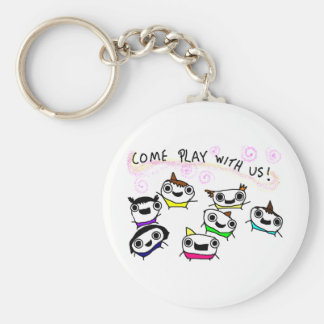 """""""Come play with us"""" Basic Round Button Keychain"""