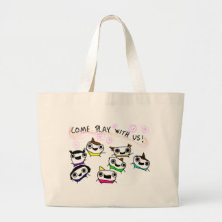 """Come play with us"" Large Tote Bag"