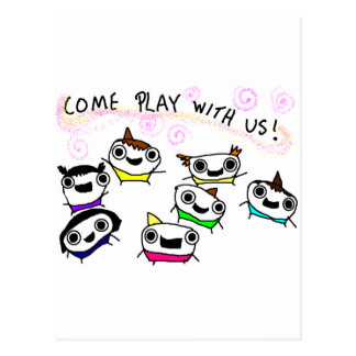 """Come play with us"" Postcard"