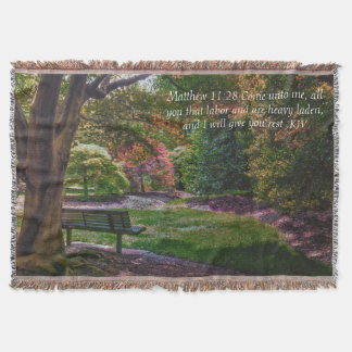 """""""Come rest"""" autumn park throw with bible verse"""