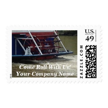 Professional Business Come Roll With Us Paddle Wheel Boat Promo Stamps