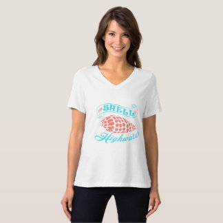 Come Shell or Highwater - White VNeck T-Shirt