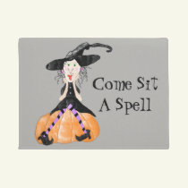 Come Sit A Spell Witch Halloween Door Mat