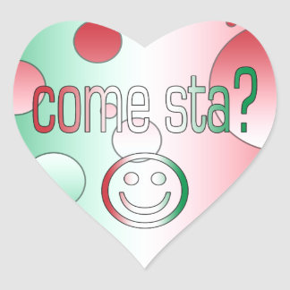 Come Sta? Italy Flag Colors Pop Art Heart Sticker