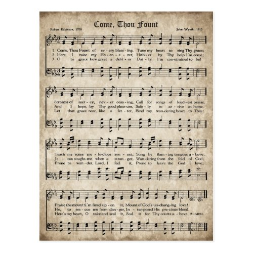 Come, Thou Fount Vintage Hymn Postcard
