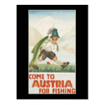 Come To Austria For Fishing Postcard