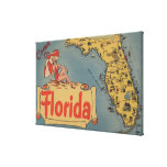 Come to Florida Map of the State, Pin-Up Girl Stretched Canvas Print