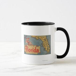 Come to Florida Map of the State, Pin-Up Girl Mug