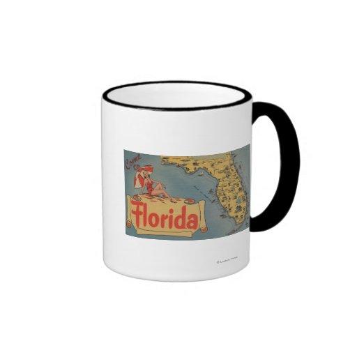 Come to Florida Map of the State, Pin-Up Girl Coffee Mug