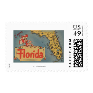 Come to Florida Map of the State, Pin-Up Girl Postage Stamps