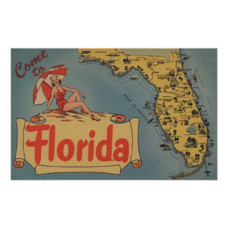 Come to Florida Map of the State, Pin-Up Girl Poster