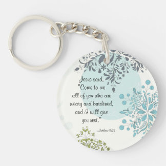 Come to Me I will give you rest, Matthew 11:28 Keychain
