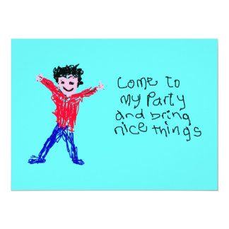 Come To My Party - Child's Drawing Custom Invites