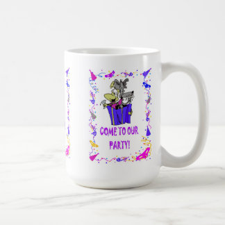 Come to our party, parcel of dogs coffee mug