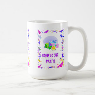 Come to our party, parcels coffee mug