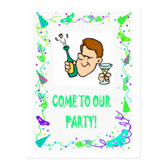 Come to our party,popping corks postcard