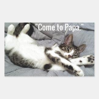 """Come To Papa"" Cat Rectangular Sticker"