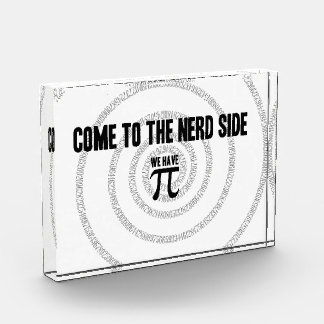 Come To The Nerd Side for Pi Typography Style Acrylic Award