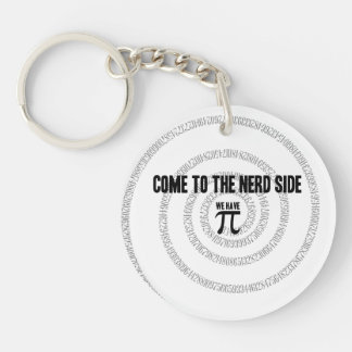 Come To The Nerd Side for Pi Typography Style Keychain