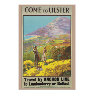 Come to Ulster Vintage Travel Poster