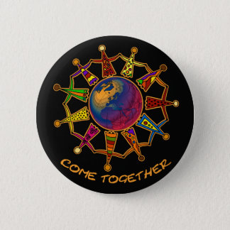 Come Together People   black Pinback Button