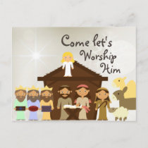 Come Worship Him Nativity Christmas Postcard