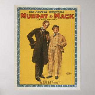 Comedia de teatro Murray y Mack del vintage Póster
