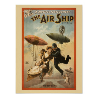 Comedia musical del vintage la nave del aire póster