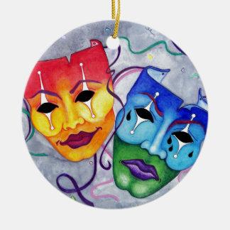 Comedia y tragedia adorno navideño redondo de cerámica