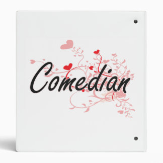 Comedian Artistic Job Design with Hearts 3 Ring Binders