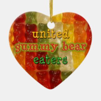 comedores gomosos unidos del oso adorno de cerámica en forma de corazón
