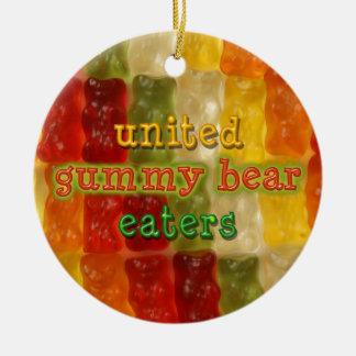 comedores gomosos unidos del oso adorno redondo de cerámica