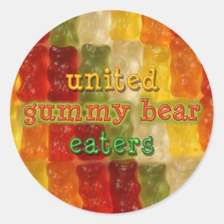 comedores gomosos unidos del oso pegatina redonda