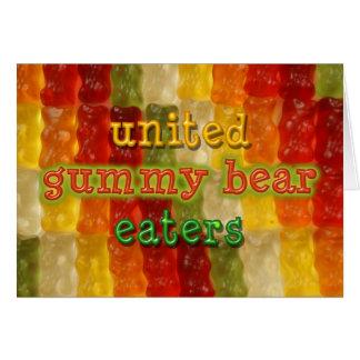 comedores gomosos unidos del oso tarjeta de felicitación