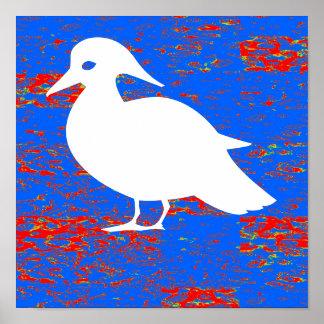 Comedores gráficos de los pescados de los pájaros póster