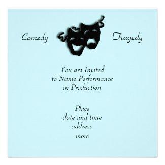 Comedy and Tragedy Black Masks Blue Invitation