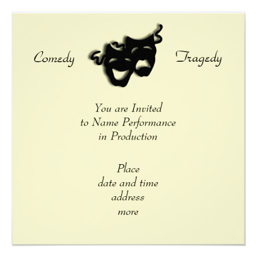 Comedy and Tragedy Black Masks Invitation Personalized Announcement