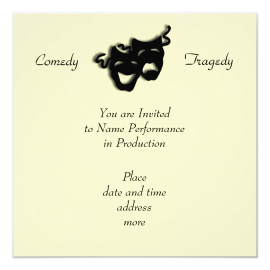 Comedy and Tragedy Black Masks Invitation